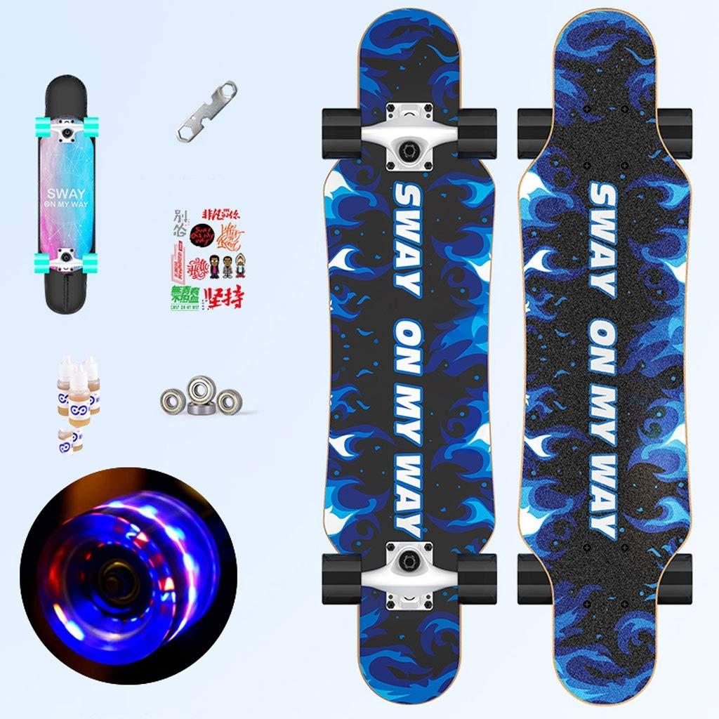 スケートボード 四輪スケートボードフラッシュホイールプロフェッショナル大人用ダンスボード6-12歳の女の子両面パターンスケートボード (Color : X) X