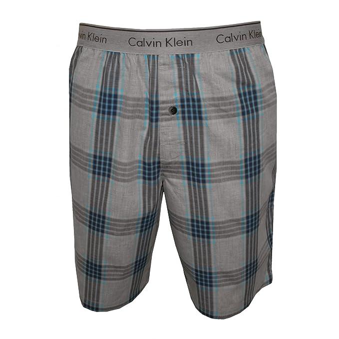Pijama Cortos De Calvin Klein Cuadros Tejido Hombres, Azul Ateniense