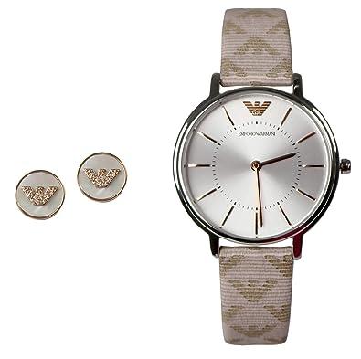 9e7f1d97f866 EA Emporio Armani Mujer Set ar80007 Reloj de pulsera + pendientes plata oro  Nácar  Amazon.es  Joyería