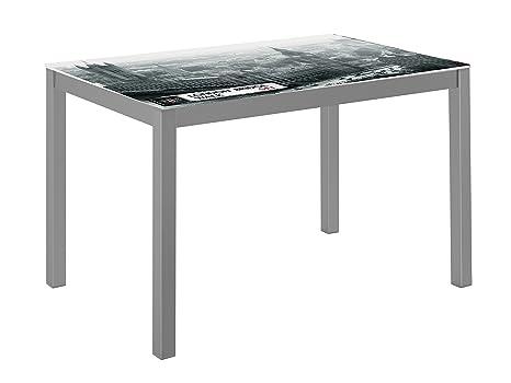 Suarez cadell london tavolo acciaio argento  cm