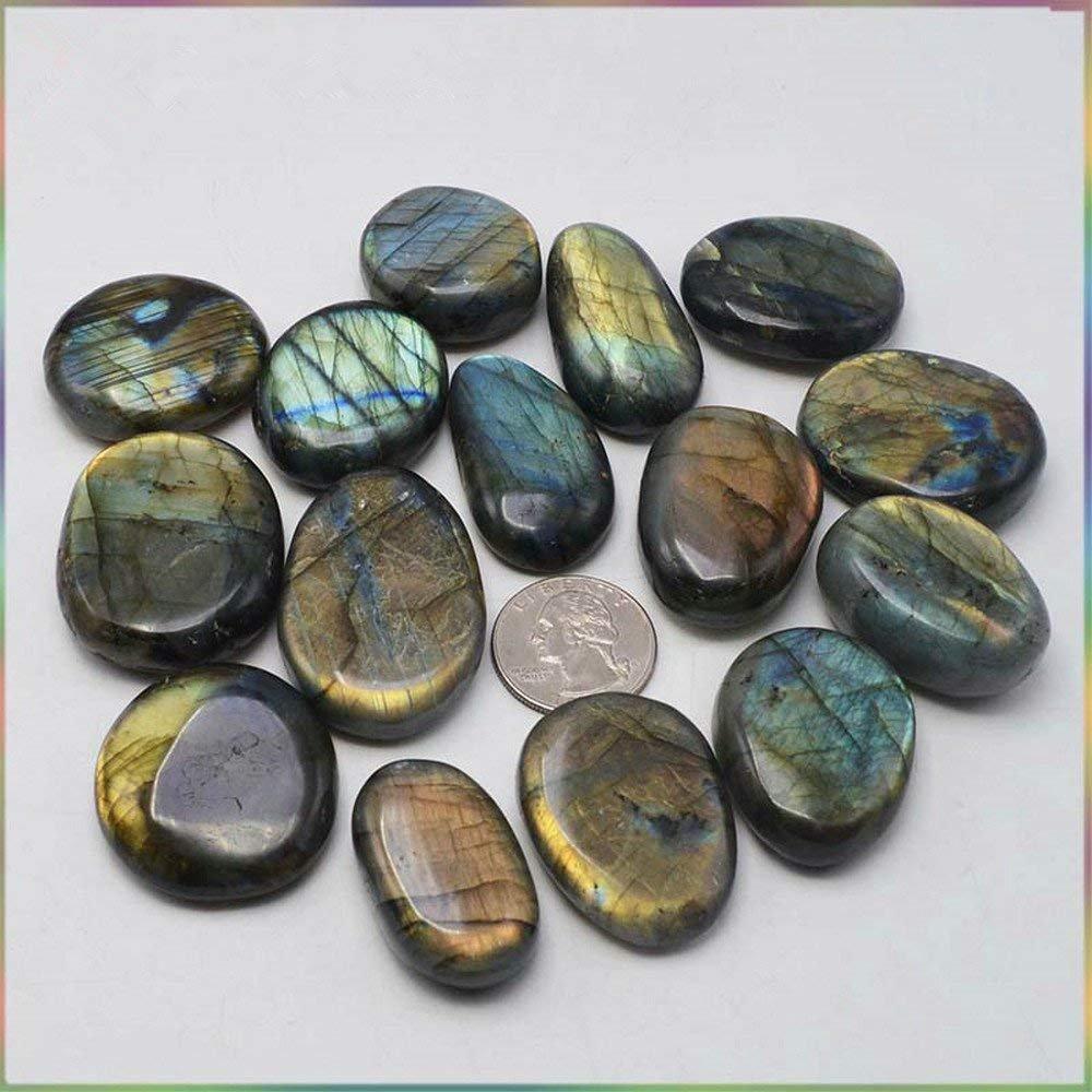 AITELEI Aiteli - Piedra Lunar de Cristal, Piedra de labradorita, Piedra de Cuarzo curativa, Forma de corazón, para Hacer Joyas, para preocuparse por la ...
