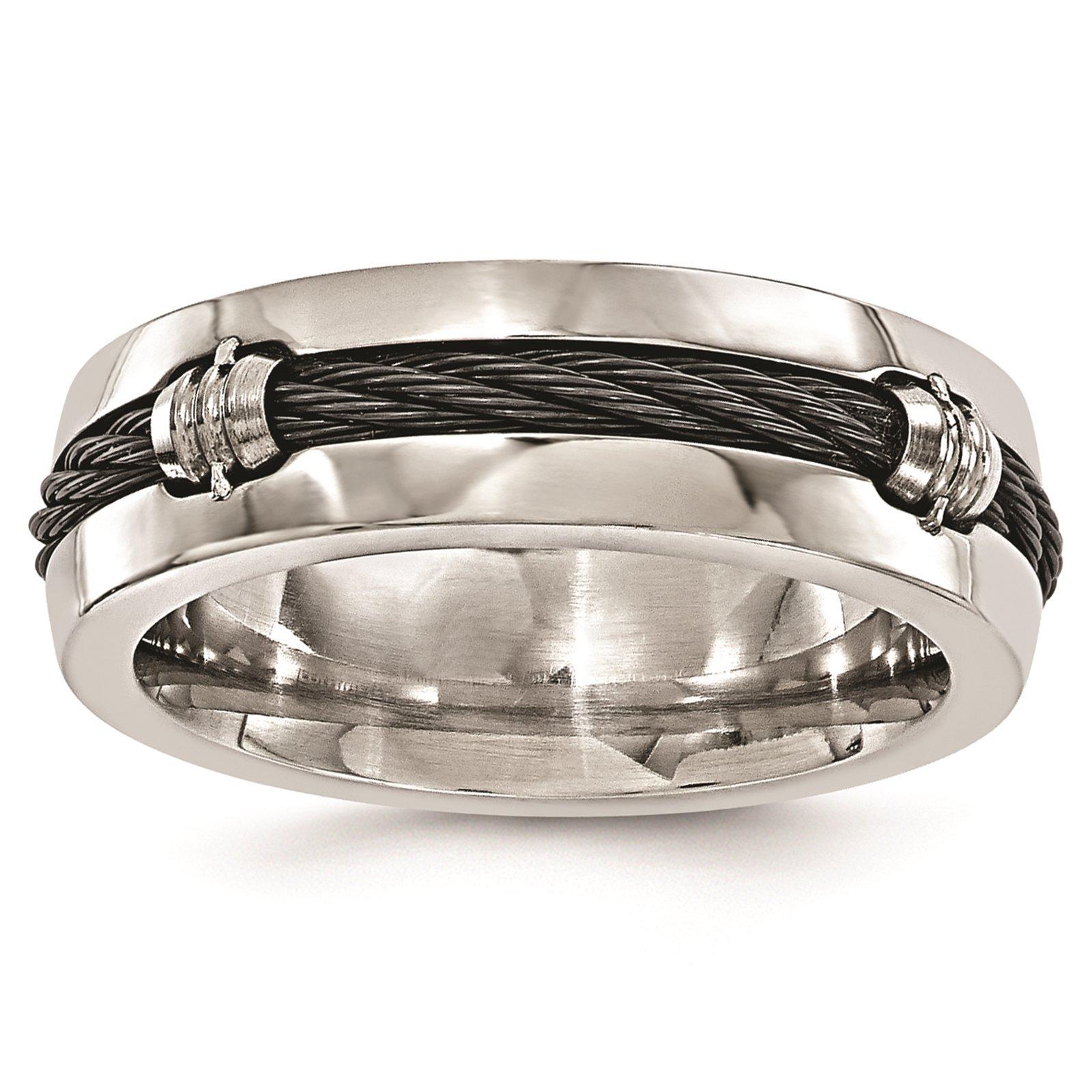 Titanium & Cable Polished 7mm Wedding Ring Band Size 8 by Edward Mirell by Venture Edward Mirell Titanium Bands (Image #1)