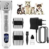 GHB Cortapelo para Perro Máquina de Cortar Pelo para Perros Esquiladora Mascota Gato Recargable de Pantalla LCD