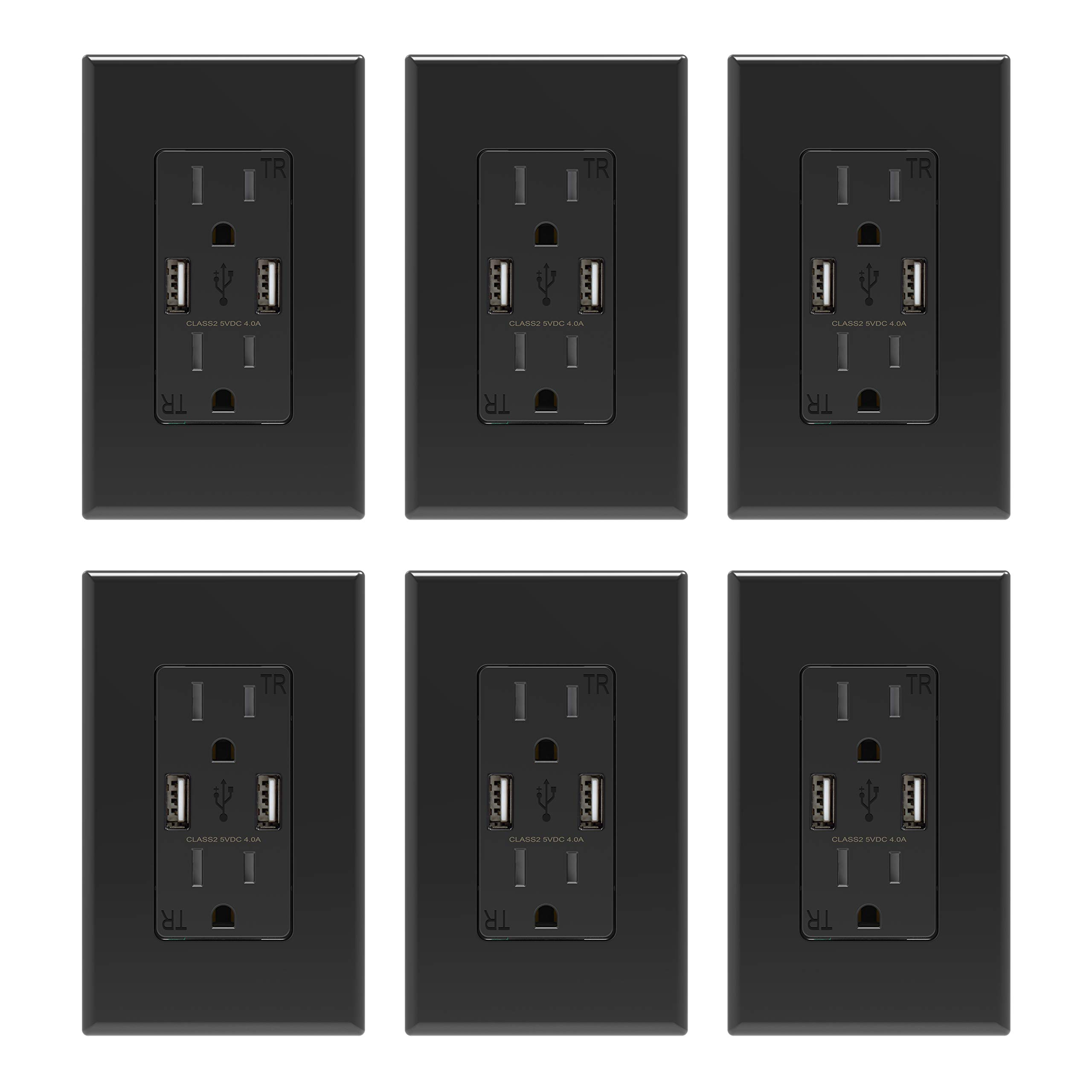 ELEGRP USB Charger Wall Outlet, Dual High Speed 4.0 Amp USB Ports with Smart Chip, 15 Amp Duplex Tamper Resistant Receptacle, Wall Plate Included, UL Listed (6 Pack, Black)
