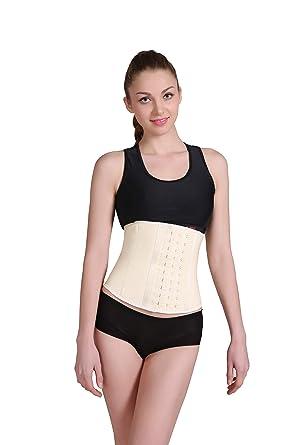 6a9b6441539 ANN DARLING Women s Workout Short Torso Latex Waist Trainer Body Shaper  Beige X-Small