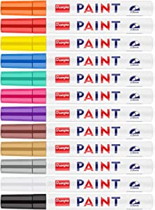 Paint Markers Permanent on Almost Anything Never Fade Quick Dry Oil-based 12 Colors, Tomorotec 2.8mm Tip Size Assorted Bright and Vivid Fine Tip Paint Pen Set, Strong Covering Force
