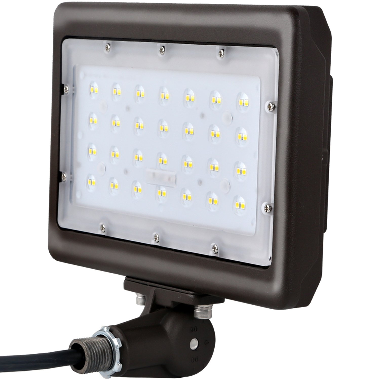 Hykolity 50W LED Flood Light with Knuckle Mount, 6000lm 5000K Security Floodlight Fixture for Outdoor Decoration, Wall grazing/Wall Washing Signage Light [250W Halogen Equivalent] DLC Qualified