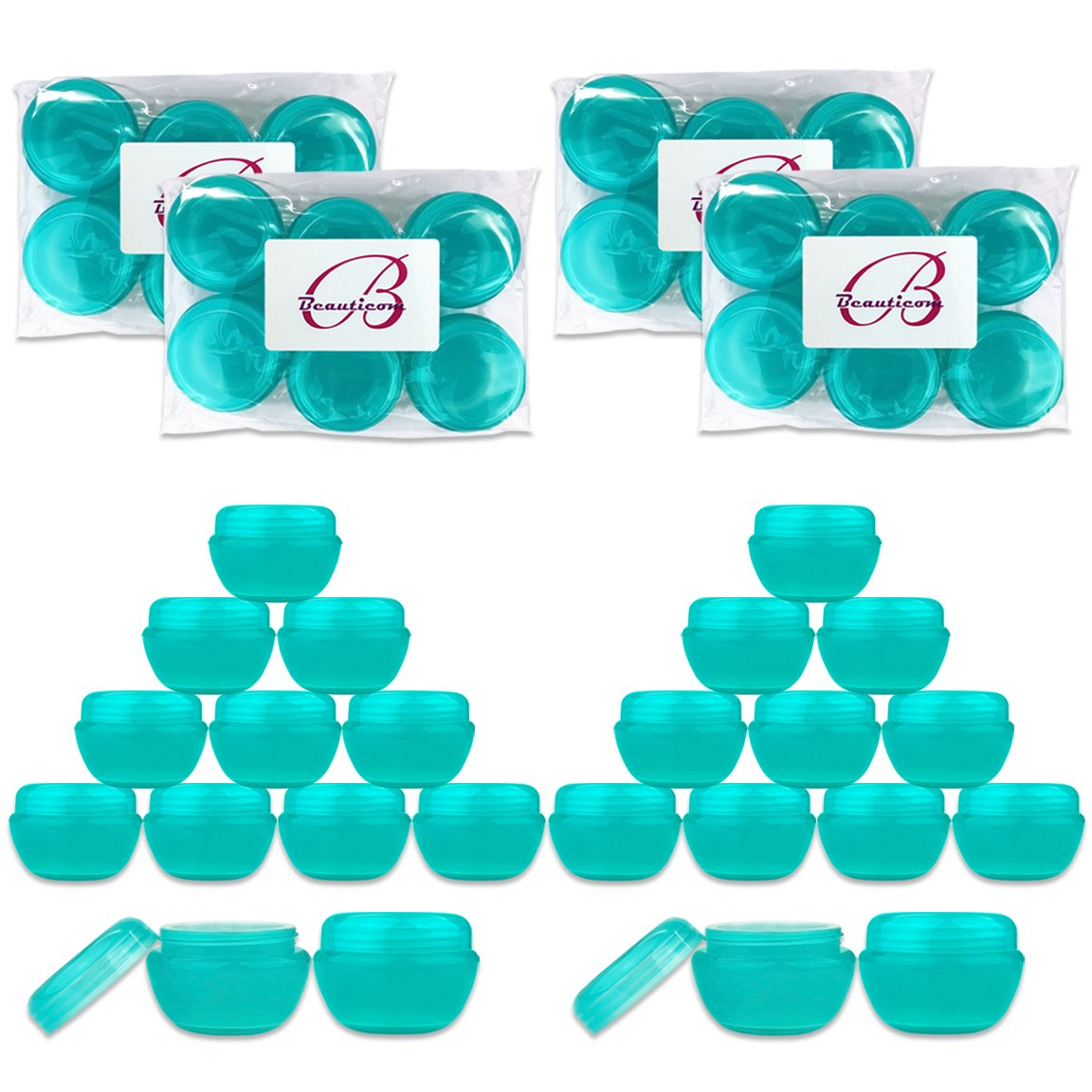 Beauticom 24 Pieces 10G 10ML Teal Container Jars with Inner Liner and Lid for Scrubs, Oils, Salves, Creams, Lotions, Makeup Cosmetics, Nail Accessories, Beauty Aids – BPA Free