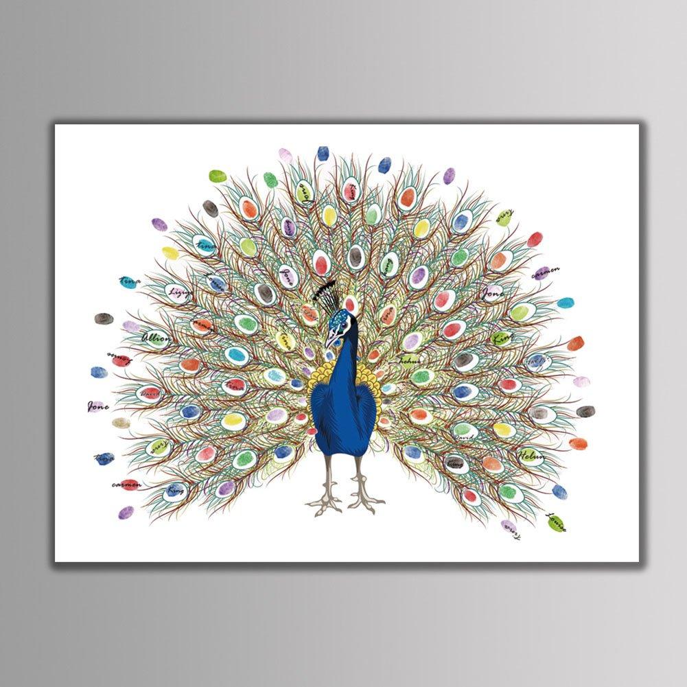 LianLe. Lienzo para firma con huellas dactilares, firma de libro de visitas con diseño de árbol, para fiesta de boda (con 2almohadilla de tinta), Big tree, A:30*40cm
