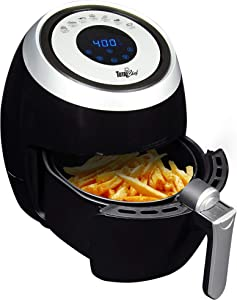 Total Chef 7-in-1 Electric Air Fryer, 3.6 L / 3.8 Quarts, Digital Touchscreen, Adjustable Temperature and Timer, 1500 Watts, Black and Silver, Healthy Family Cooking, Home, Dorm or RV
