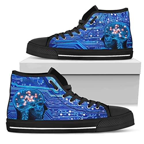 ff1ff4ff4e73 Amazon.com  Custom Mens Hightop Sneakers Network Engineer Shoes IT Computer  Sneaker Gifts for Men Technology Shoes  Handmade