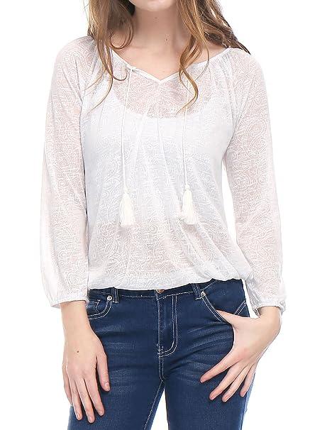 Allegra K Blusa Para Mujer Patrón De Paisley Tasseled Jacquard Corbatas - Blanco/XS (