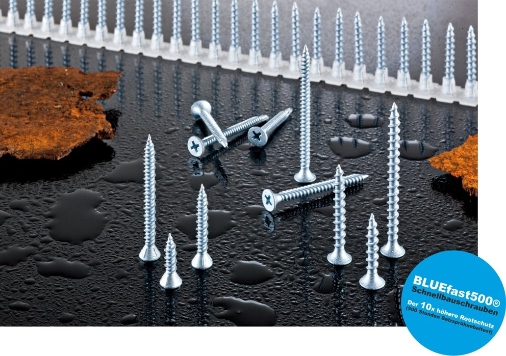 Faserplattenschrauben 3,9 x 30 mm BLUEfast500 1.200 St/ück