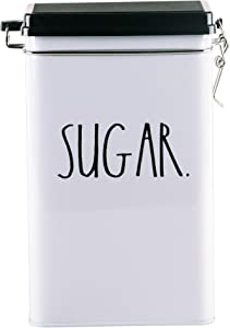 Rae Dunn Sugar Canister Tin Storage Box with Metal Clamp Locking Lid (Sugar)