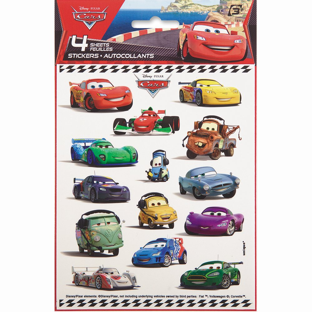 Amazon com disney cars sticker sheets 4ct toys games