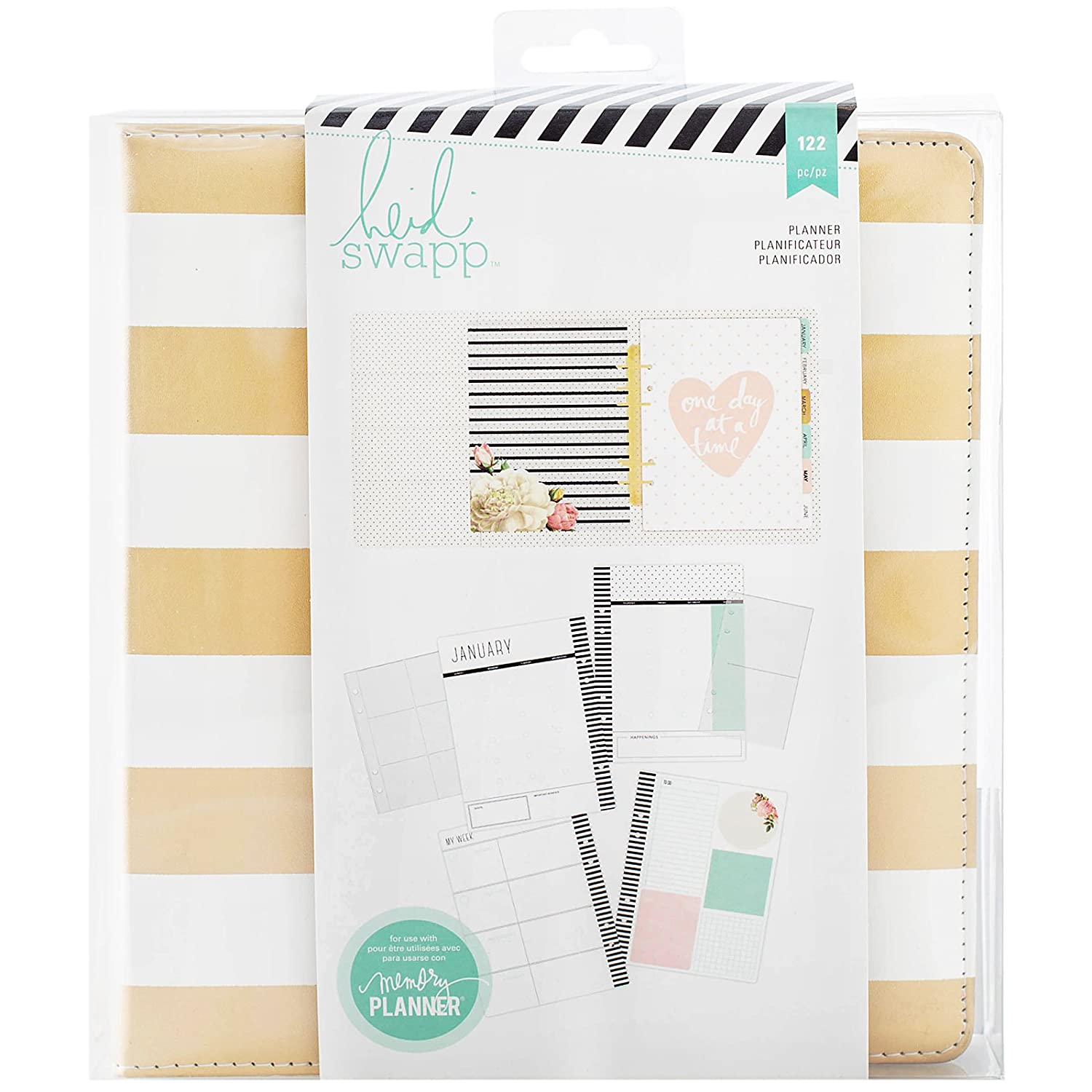 American Crafts Heidi Swapp Large Memory Planner Gold Foil Stripes, Acrylic, Multicolour 312012