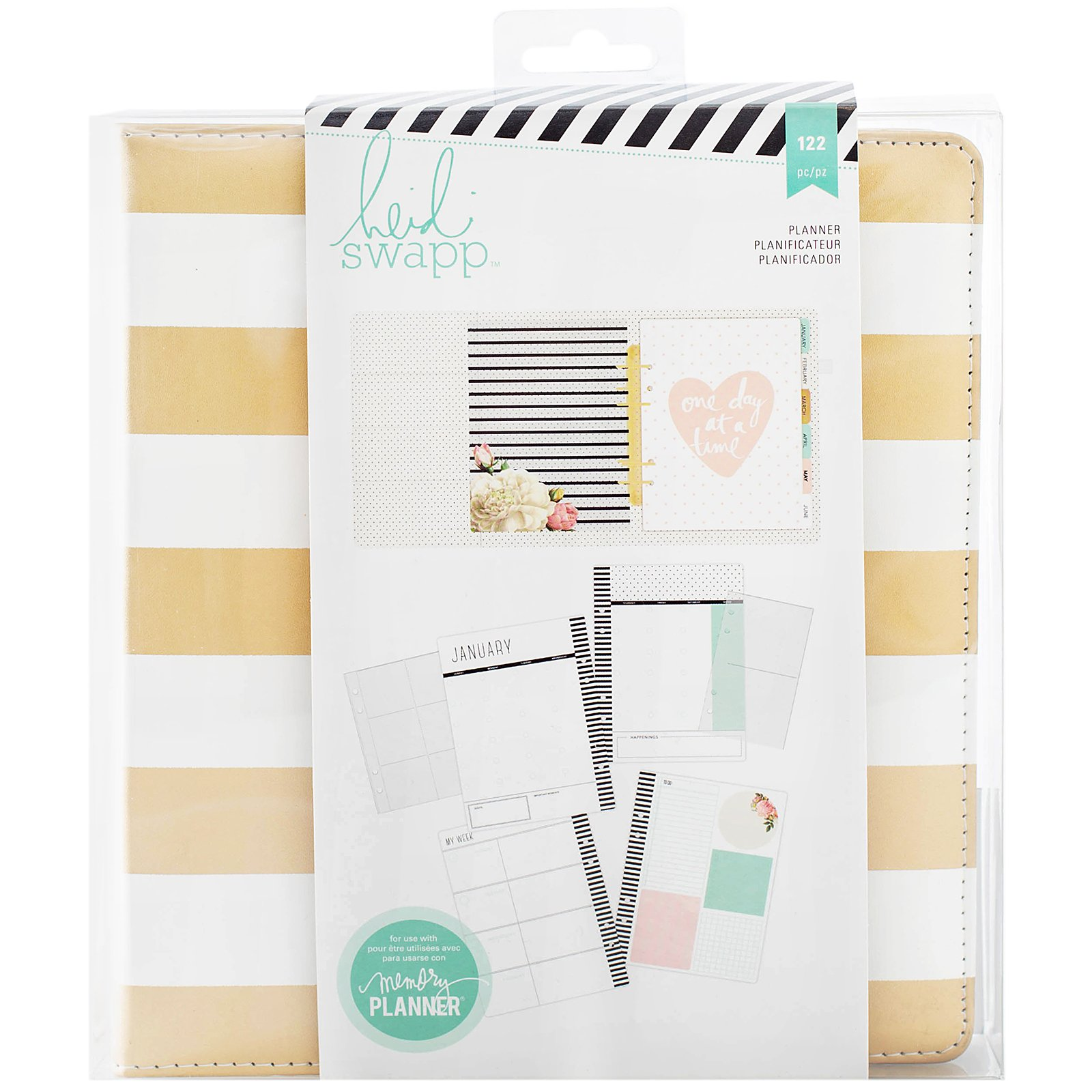 Heidi Swapp Large Memory Planner by American Crafts | Gold and White Striped | 122 Pieces