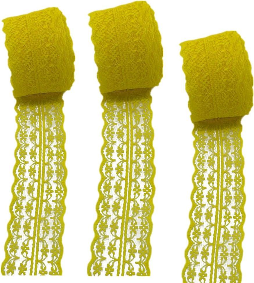 amarillo 3 rollos de 10 metros de cinta de encaje floral 45mm x10m