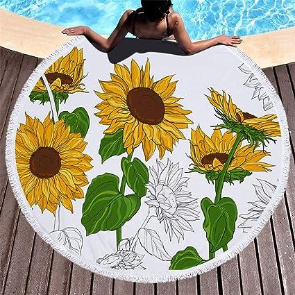 60/'/' 3D Sunflower Floral Round Beach Towel Picnic Yoga Mat Swimming Bath Towels