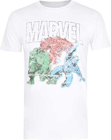 Blanco White Wht para Hombre Small Talla del Fabricante: Small Marvel Mightiest-Mens T Shirt SML Camiseta