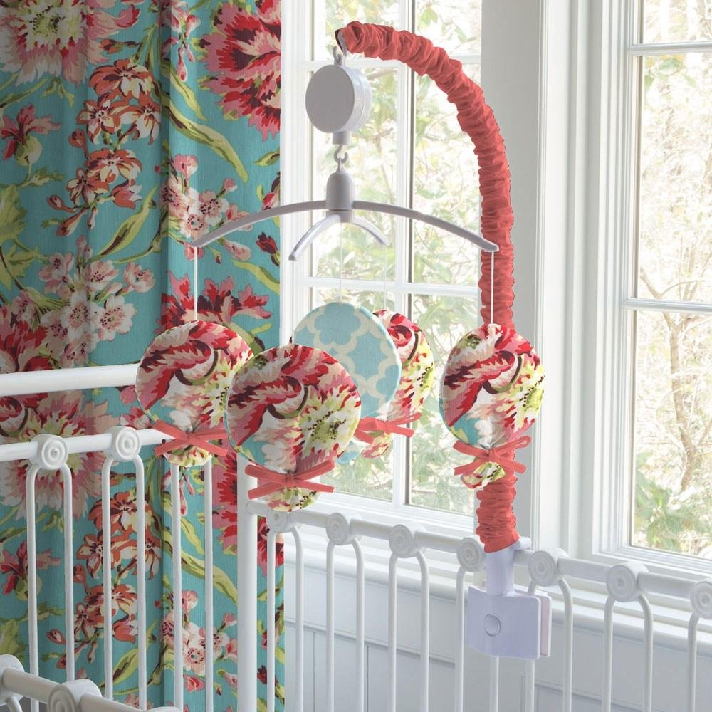 Carousel Designs Coral and Teal Floral Mobile