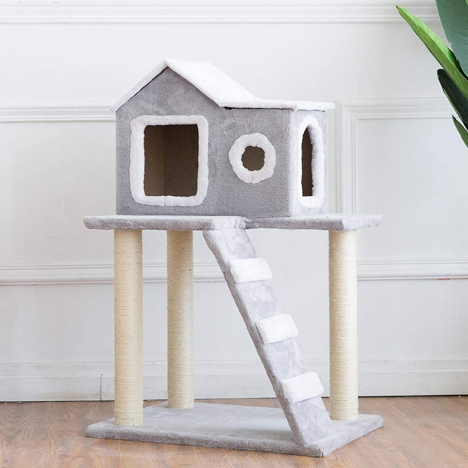 Scratching Post /& Dangling Toy Combined with Cat Bed CO-Z 4 in 1 Multi-Functional Cat Tree Condo Furniture Cat Climber Super Stable Cat Tower House Peek Holes