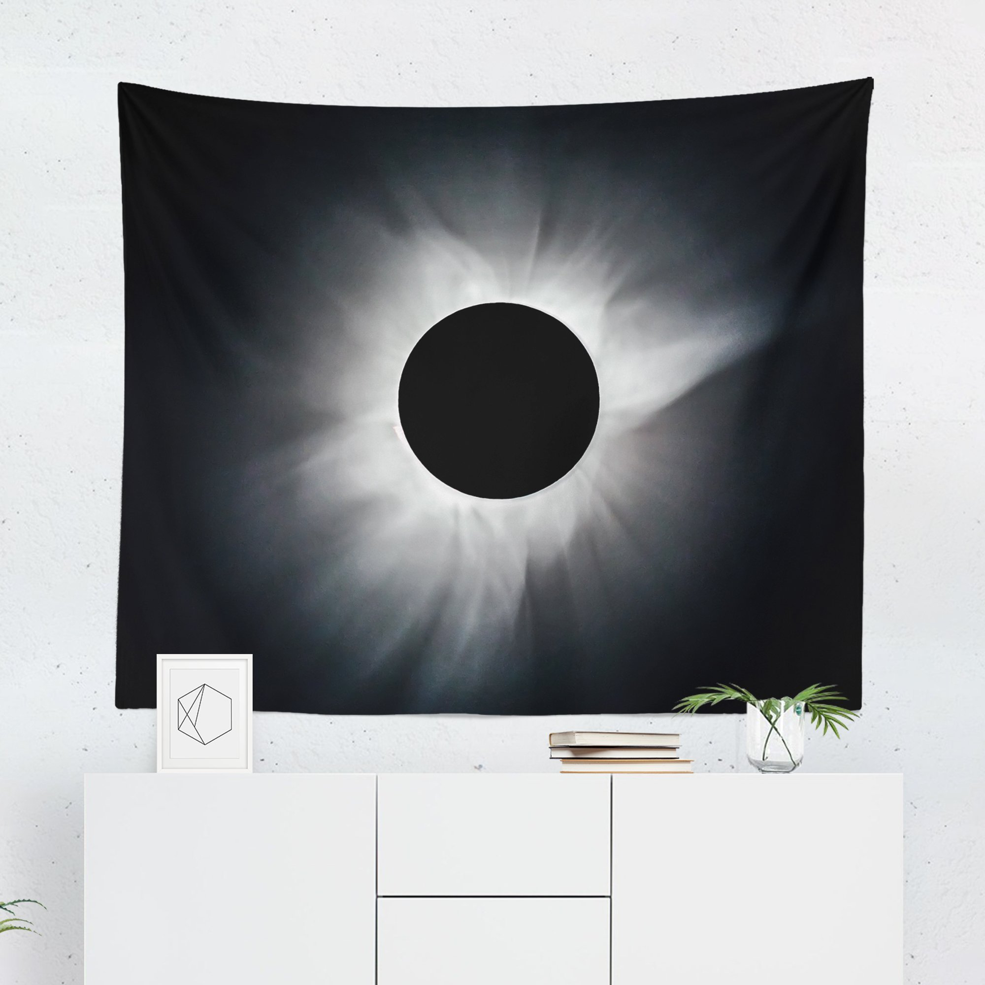 Solar Eclipse Tapestry - Moon Sun Stars Wall Tapestries Hanging Décor Bedroom Dorm College Living Room Home Art Print Decoration Decorative - Printed in the USA - Small Medium Large Sizes