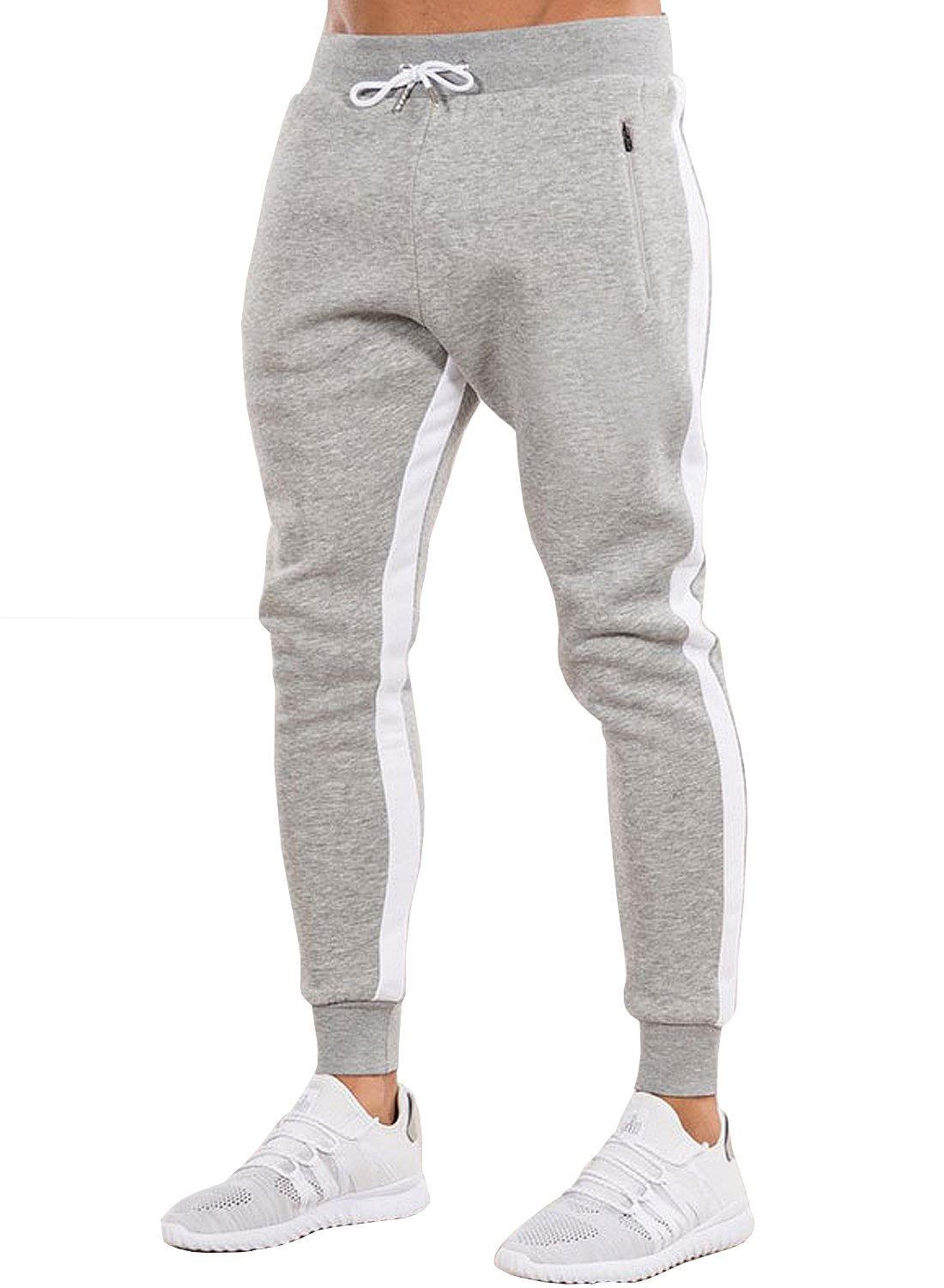 Ouber Men's Gym Jogger Pants Slim Fit Workout Running Sweatpants with Zipper Pockets (S,Grey)