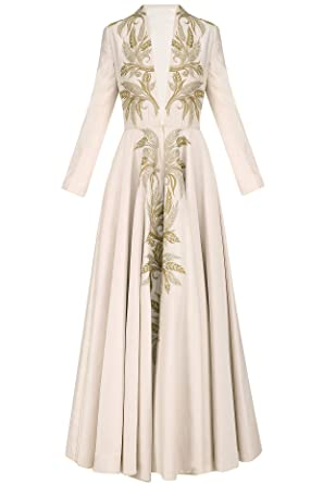 Ivory Zari Work Long Sleeves Front Open Gown at Amazon Women\'s ...