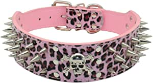 Tinapet Pink Leopard Faux Leather Spiked Studded Dog Collar Pit Bull Boxer for Medium and Large Dogs (XL, pink leopard (UP))