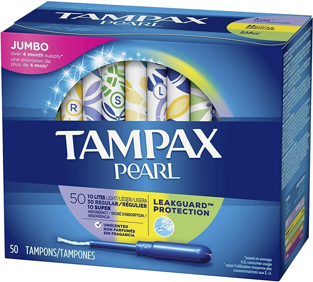 Tampax Pearl Plastic Tampons, Light/Regular/Super Absorbency Multipack, 188 Count, Unscented (47 Count, Pack of 4 - 188 Count Total) - Packaging May Vary: Health & Personal Care