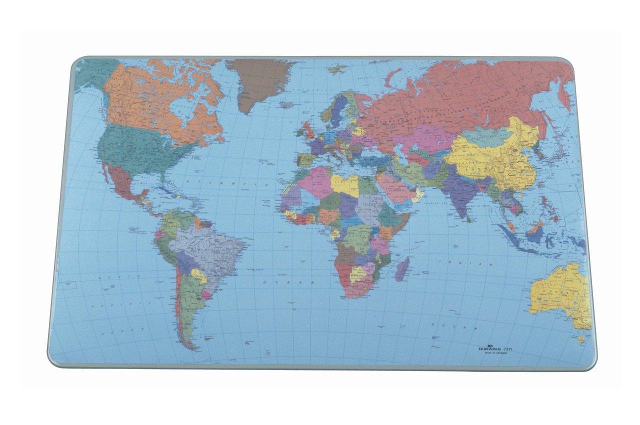 confezione da 5 Durable-Tappetino da scrivania con mappa del mondo 40 x 53 cm