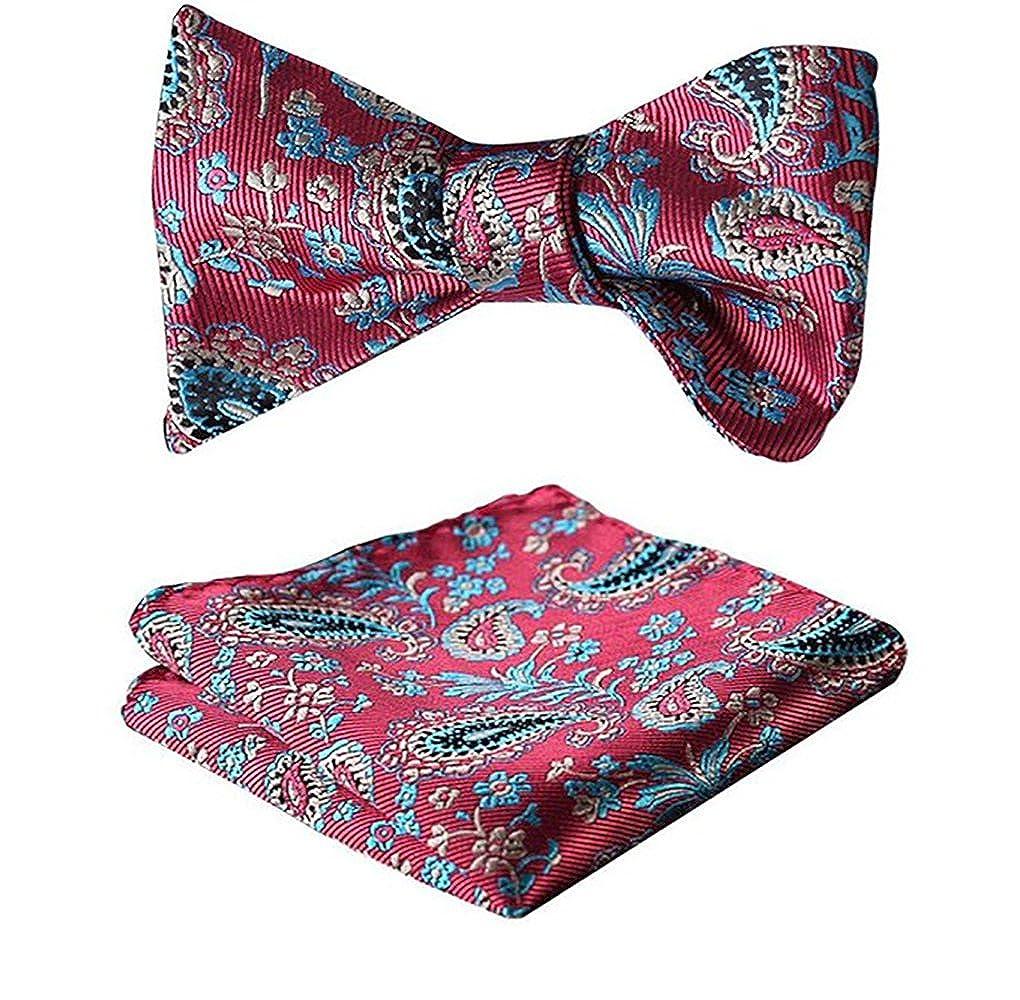 Amedeo Exclusive Men/'s Italian Silk Self Bow Tie Matching Pocket Square Hankys