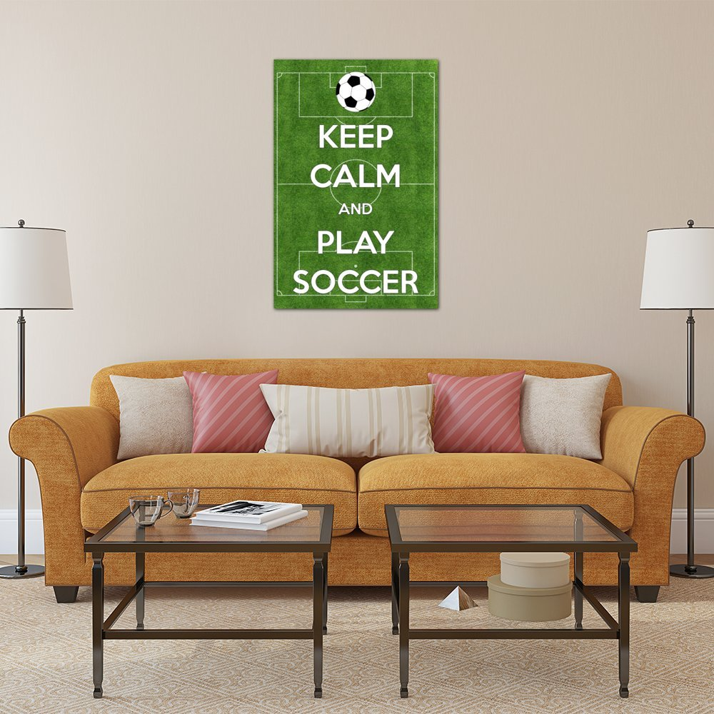 iCanvasART 3 Piece Keep Calm /& Play Soccer Canvas Print by Kitsch Opus 60 x 40//1.5 Deep