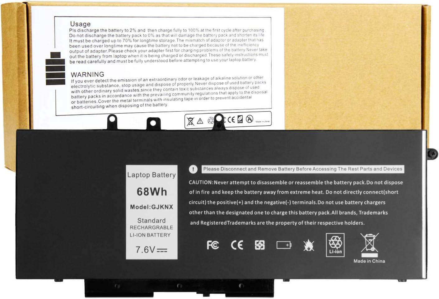 GJKNX Laptop Battery for Dell Latitude 5480 5580 5280 5590 5490 E5480 E5580 E5490 E5590 Precision 15 3520 3530 Series DY9NT 0DY9NT GD1JP 0GD1JP 5YHR4 451-BBZG - 68Wh