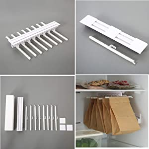 Stay Fresh Bag Sealer Sticks Sealing Clips,Chip Clips Plastic Bag Sealer Stick 8 PCS with Telescopic Shelf to Save Space for Kitchen Food Snack Bags Reusable & Easy to Storage