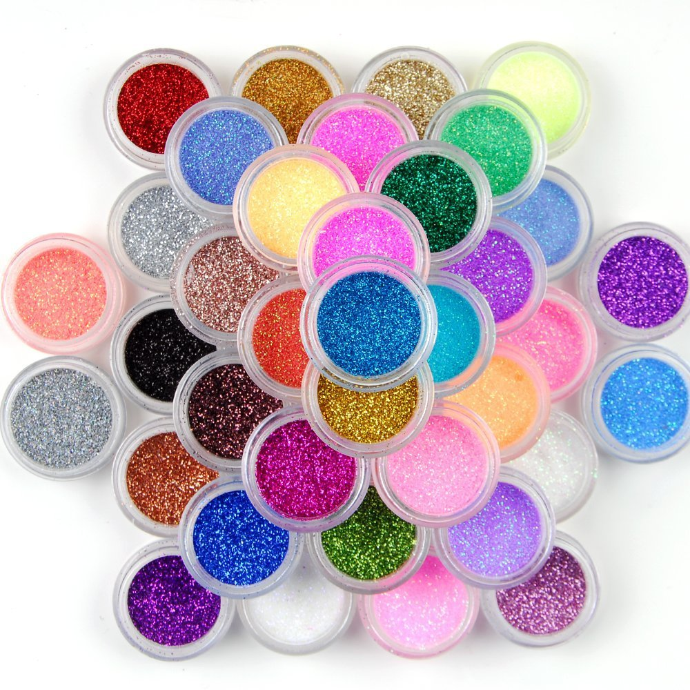 YaptheS 24 Colors Nail Art Glitter Dust Powder Multipurpose DIY Nail Gel Acrylic Nail Decoration 24Pcs Tools Make You Beautiful