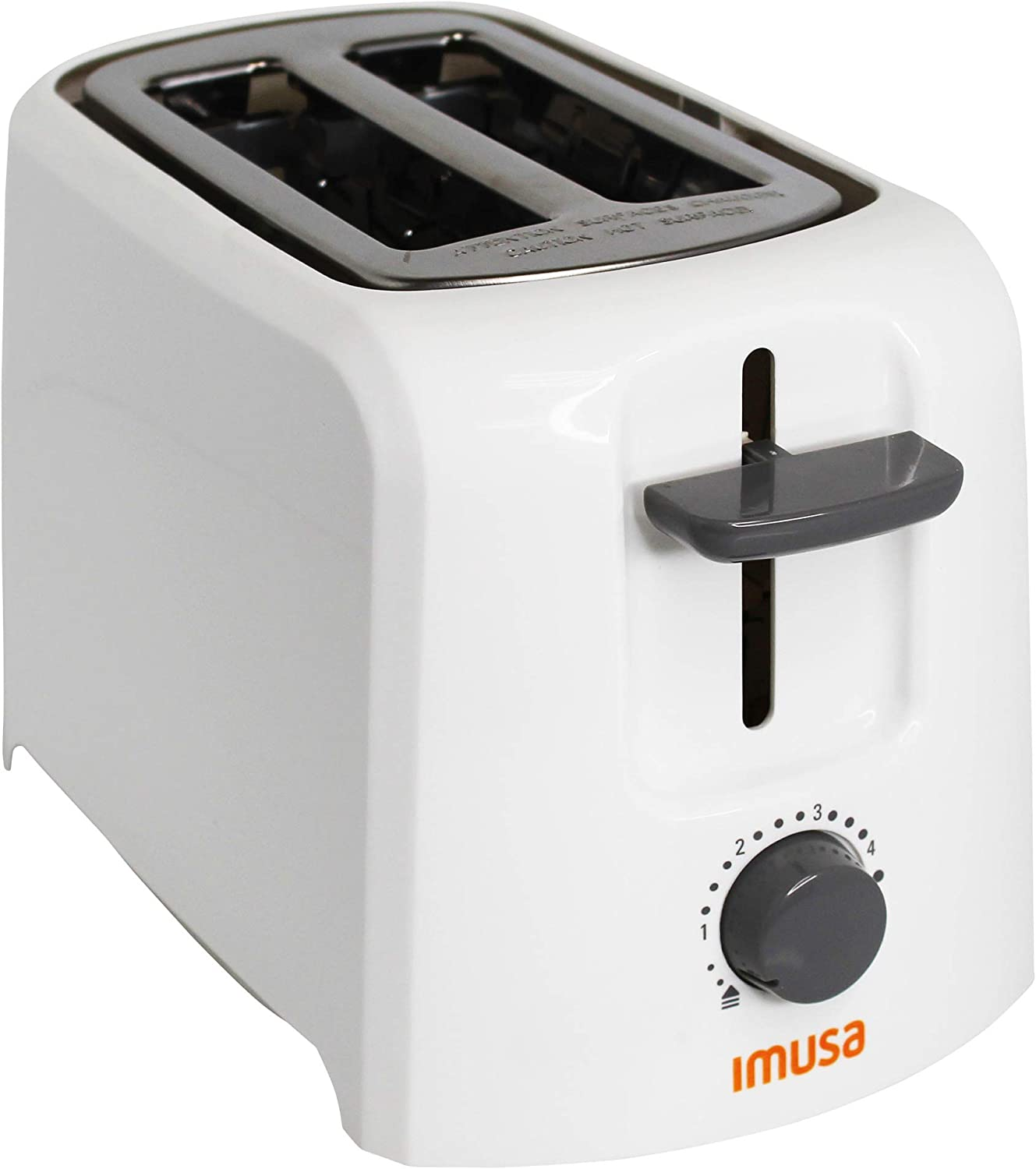Imusa USA GAU-80120W Electric Basic Toaster 2 Slices 800 Watts, White