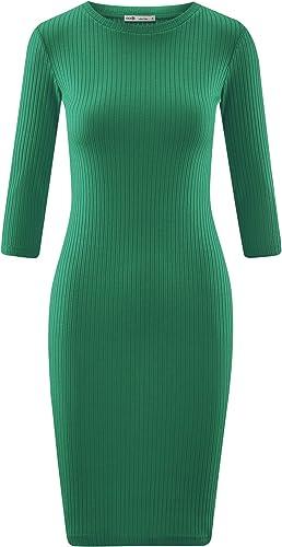 oodji Ultra Damen Geripptes Kleid mit 3//4-/Ärmeln