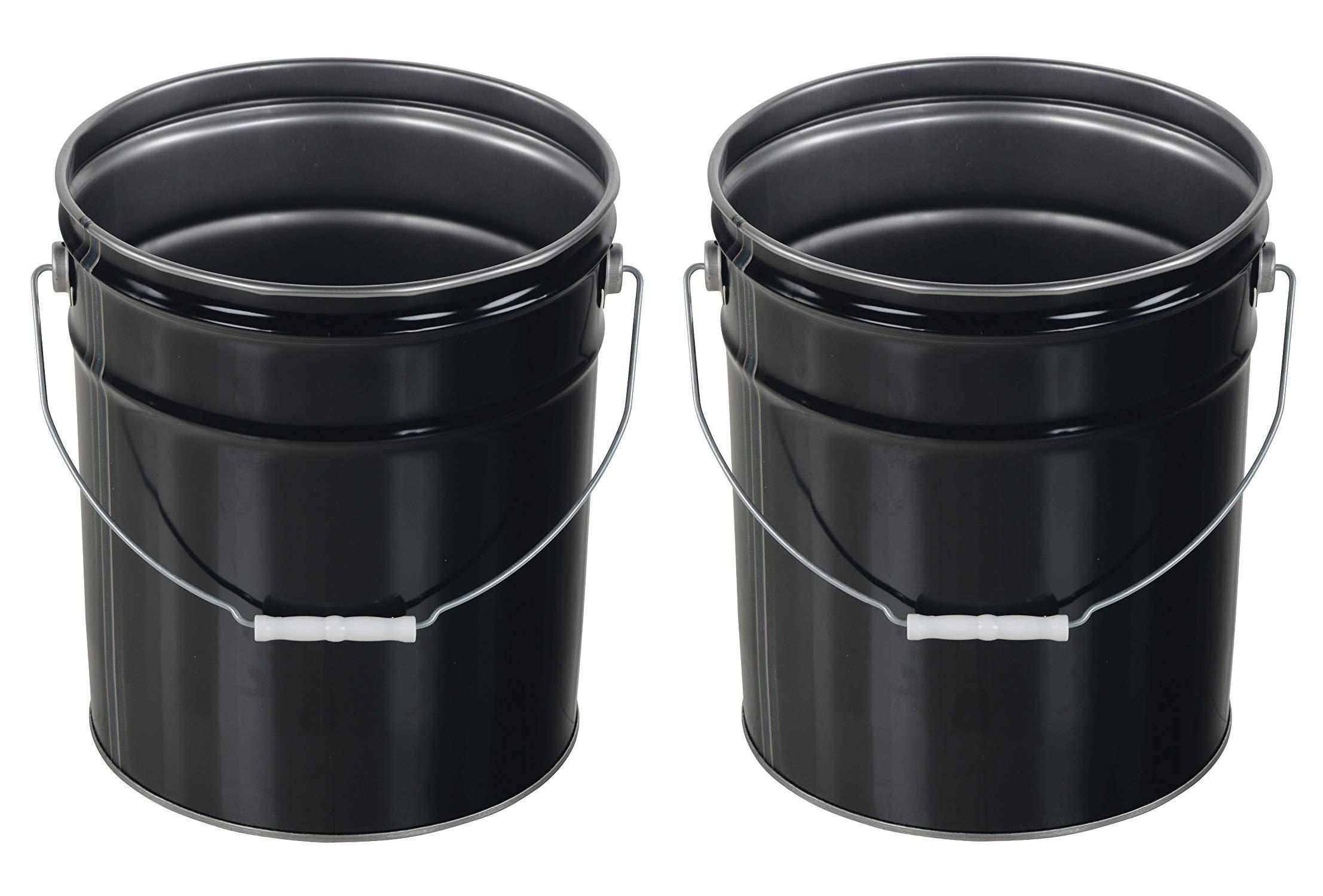 Vestil Pail-STL-RI Steel Open Head Pail with Handle, 5 Gallon Capacity, Black (Pack of 2)