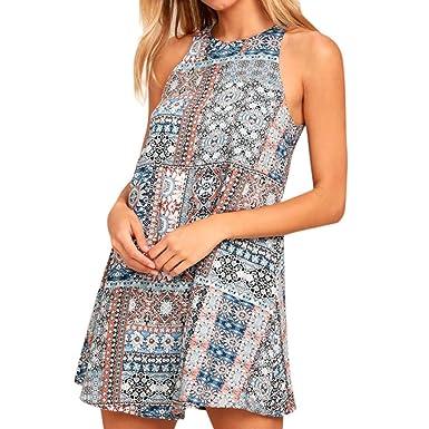 3f6d83ec99d Femme Mini Robe Été Chic Licou Boho Floral Imprimé sans Manches Robe De  Plage Casual  Amazon.fr  Vêtements et accessoires