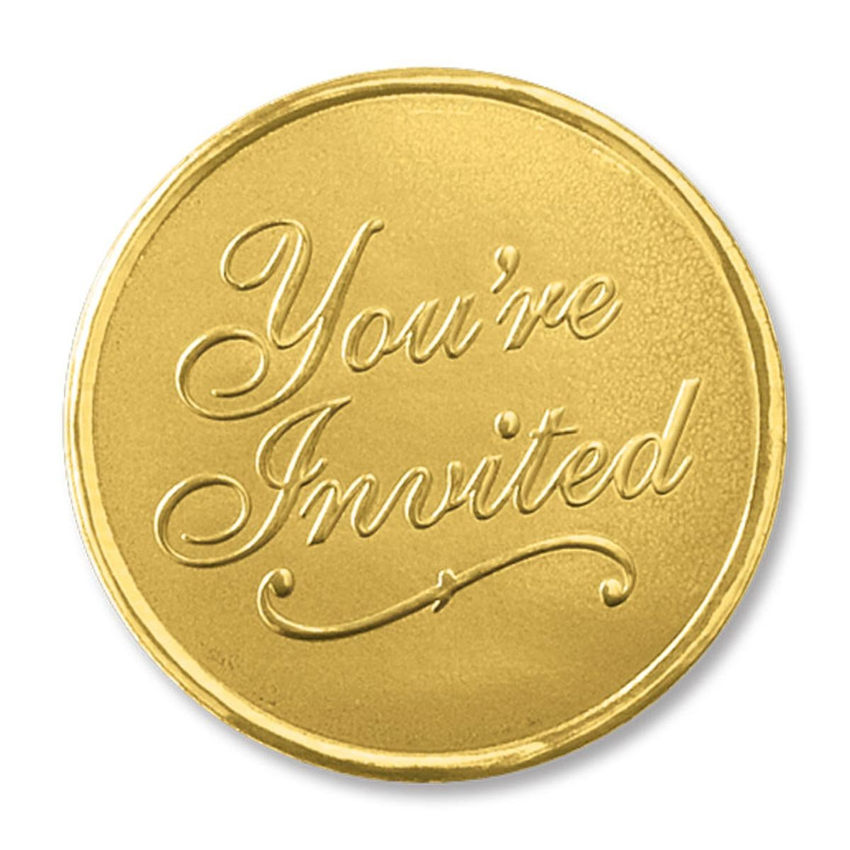 You're Invited Round Embossed Foil Seals, 48 Count (Gold) by PaperDirect