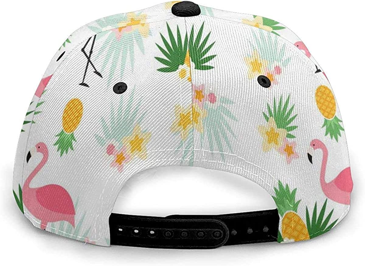 Flamingos and Pineapple Pattern Art Design White Lightweight Unisex Baseball Caps Adjustable Breathable Sun Hat for Sport Outdoor