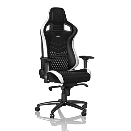 noblechairs Epic Gaming Chair - Office Chair - Desk Chair - Real Leather -  265 lbs - 135° Reclinable - Lumbar Support Cushion - Racing Seat Design -