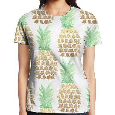 abd83b644a4c Gold Pineapple Women's T Shirt Polyester Fashion Printed Round Neck Beach  Girls Top Tees