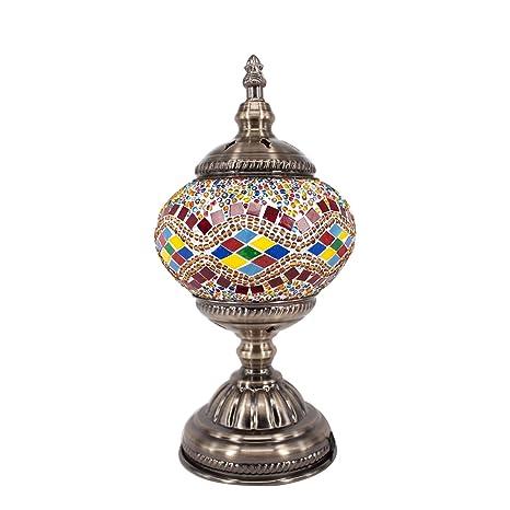Lámpara Escritorio Turca de Mesilla de Noche Vintage para Dormitorio Mosaico cristal, Base Bronze (Amarillo)