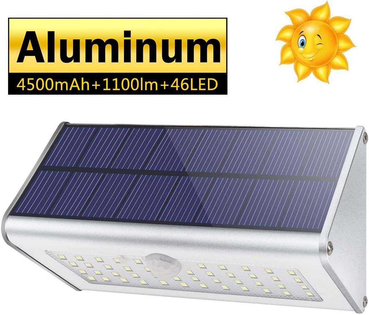 CAIYUE Solar Outdoor Lights 4500mAh Aluminum Alloy 1100lm Super Bright 120 Infrared Motion Sensor, Waterproof IP65 Security Lights, 4 Mode, for Garage, Stairway, Gate, Fence – Warm Light