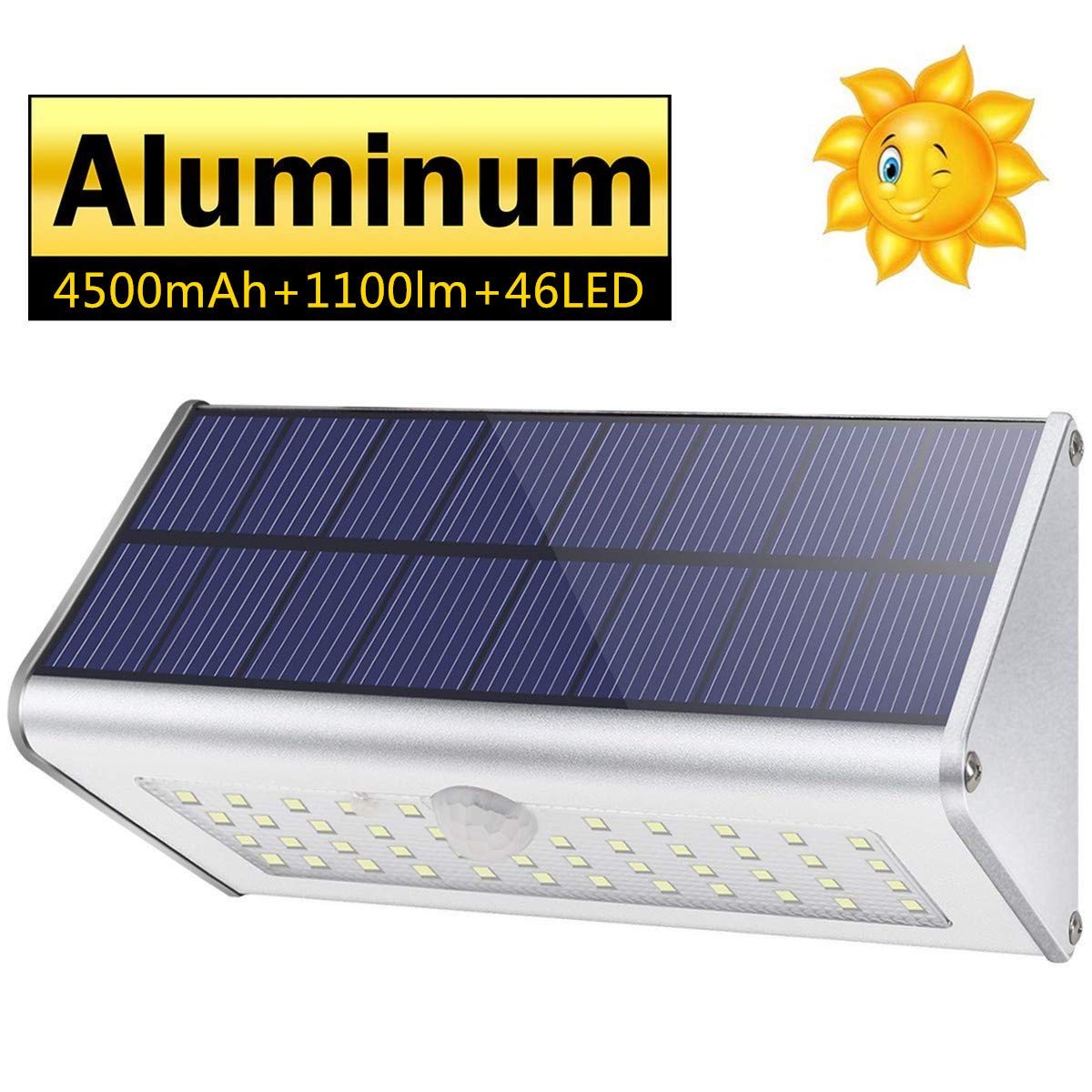 CAIYUE Solar Outdoor Lights 4500mAh Aluminum Alloy 1100lm Super Bright 120 Infrared Motion Sensor, Waterproof IP65 Security Lights, 4 Mode, for Garage, Stairway, Gate, Fence – White Light