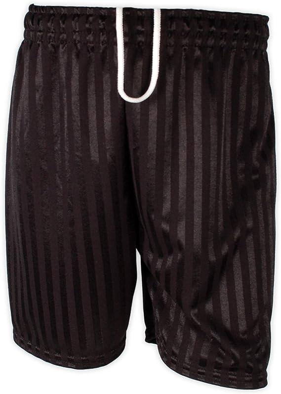 clicktostyle Unisex Black PE School Shadow Stripe PE Shorts Boys Girls Adult Football Gym Sports Short