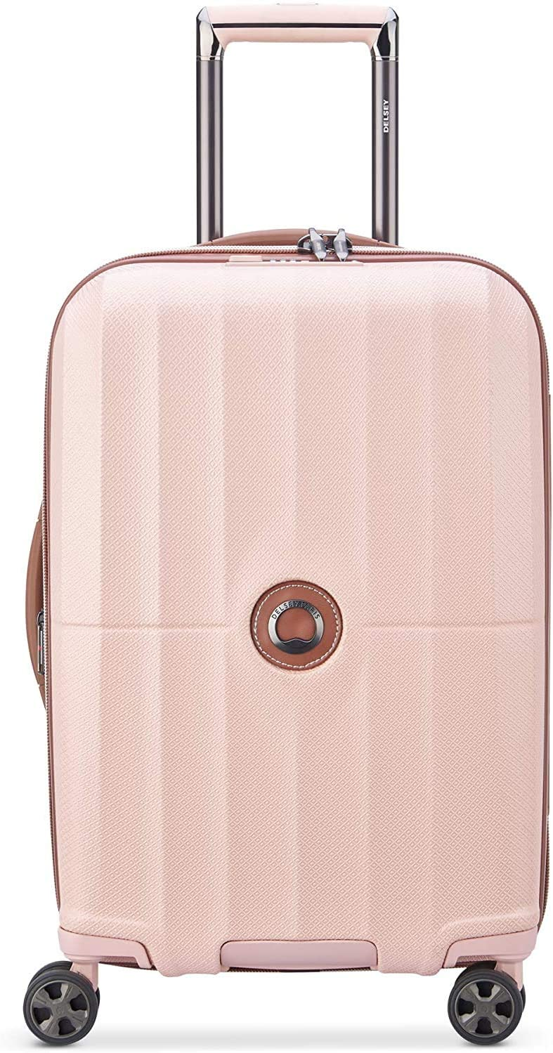 DELSEY Paris St. Tropez Hardside Expandable Luggage with Spinner Wheels, Pink, Checked-Medium 24 Inch